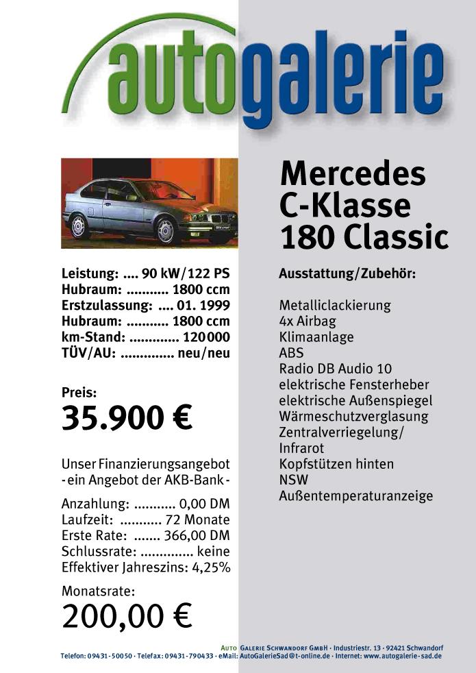 Autogalerie Schwandorf GmbH · Flyer · Datenblatt