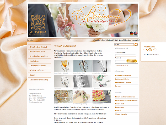 Bridescup Wutschka · Onlineshop