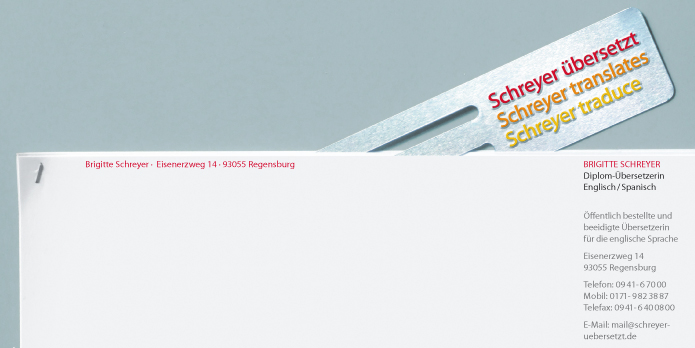 Schreyer übersetzt : Corporate Design : Briefbogen : Visitenkarte
