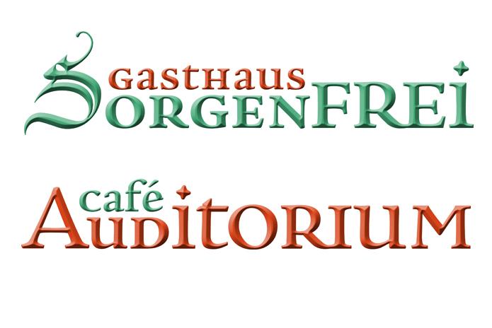 Gasthaus Sorgenfrei / Café Auditorium · Logo Wortmarke