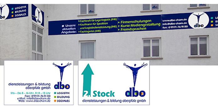 dbo Dienstleistungen und Bildung GmbH · Firmenschilder · Spanntransparente