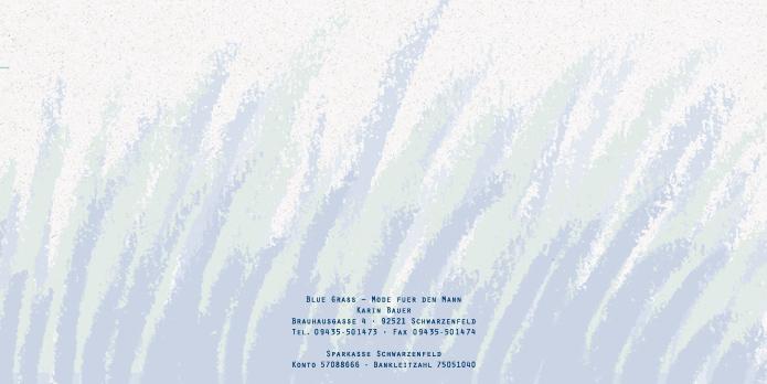 Blue Grass, Mode fuer den Mann : Briefbogen : Visitenkarte