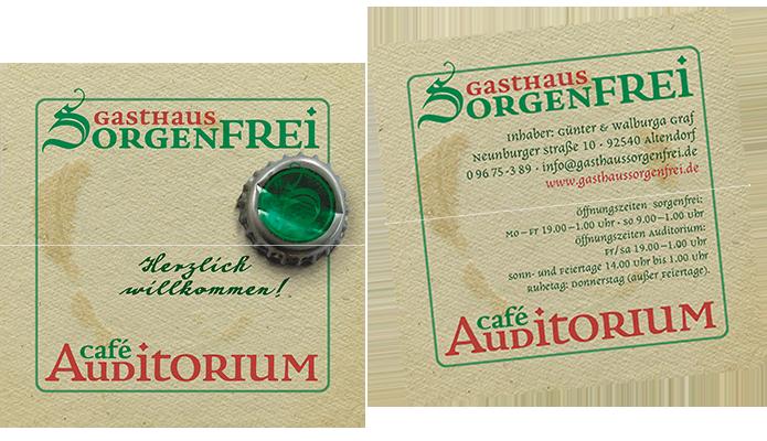 Gasthaus Sorgenfrei / Café Auditorium · Visitenkarte · Flyer