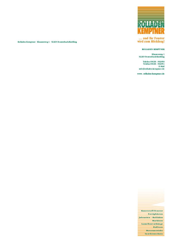 Rolladen Kemptner · Briefbogen