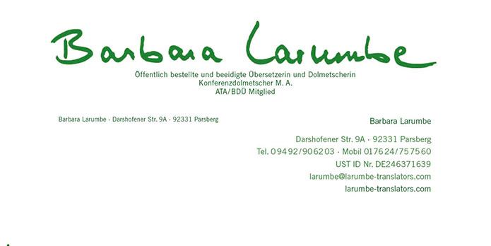 Larumbe translators : Briefbogen : Visitenkarte