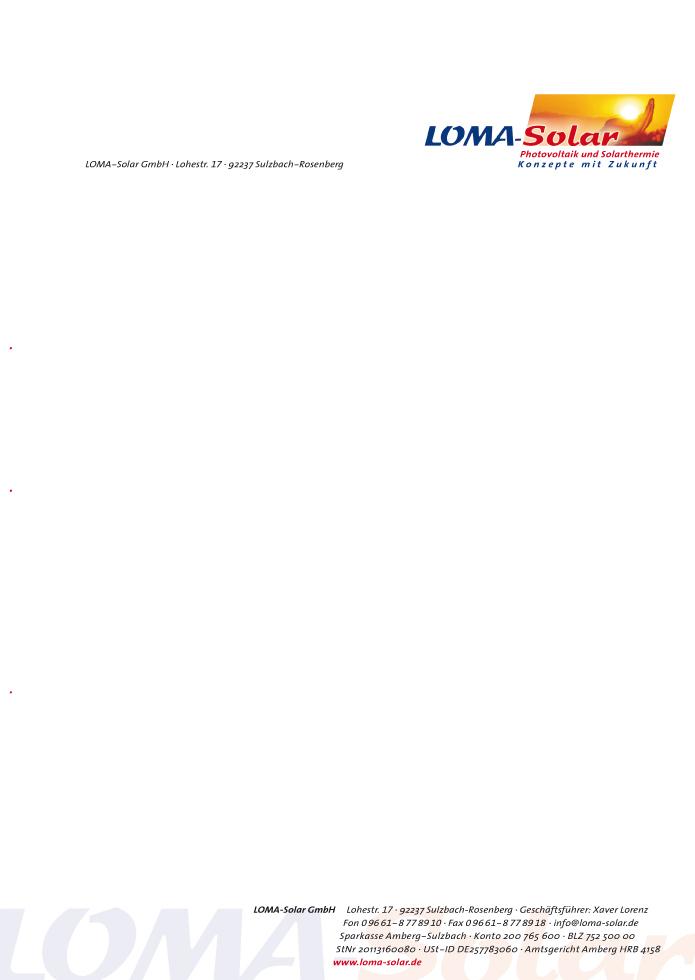 Loma-Solar GmbH · Briefbogen