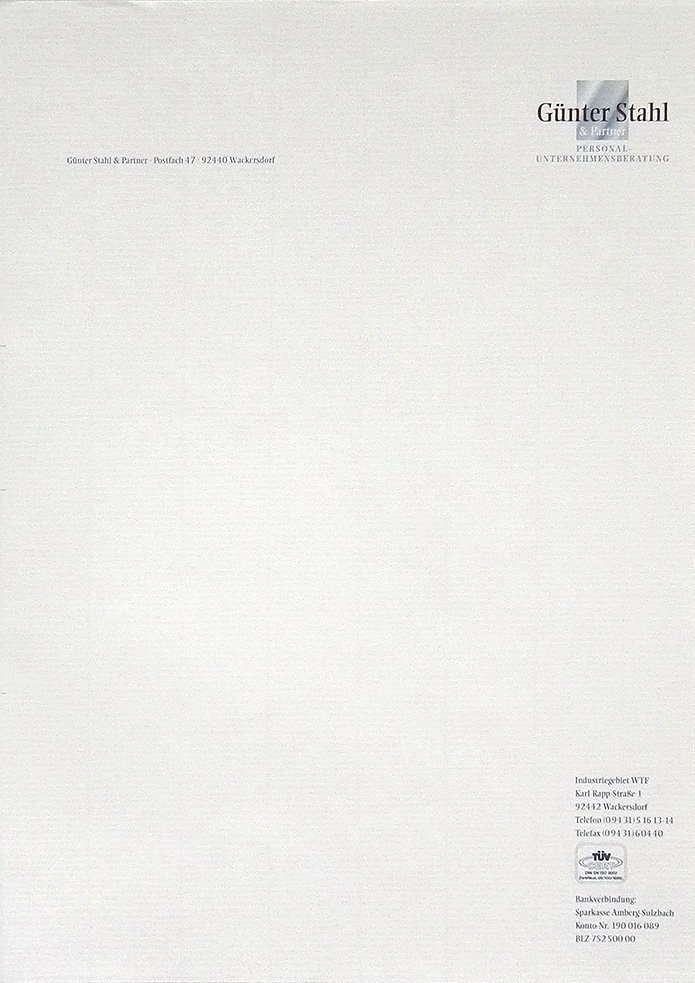 Stahl & Partner Personalberatung · Briefbogen