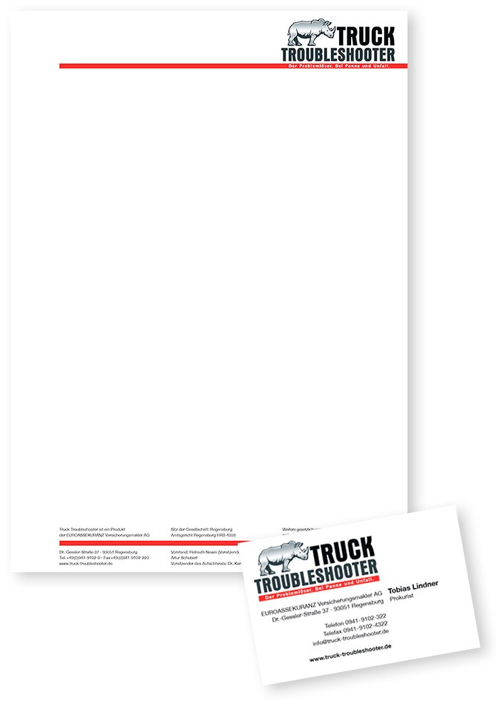 Truck Troubleshooter · Briefbogen · Visitenkarte