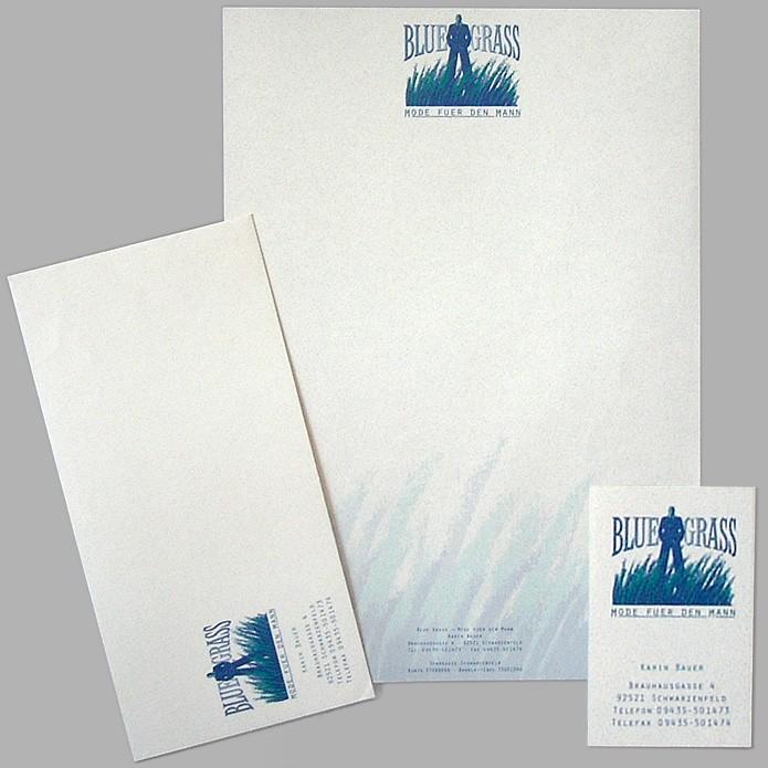 BlueGrass · Briefbogen · Briefhülle · Visitenkarte