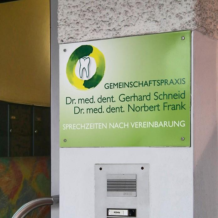 Dr. Schneid & Dr. Frank · Praxisschild
