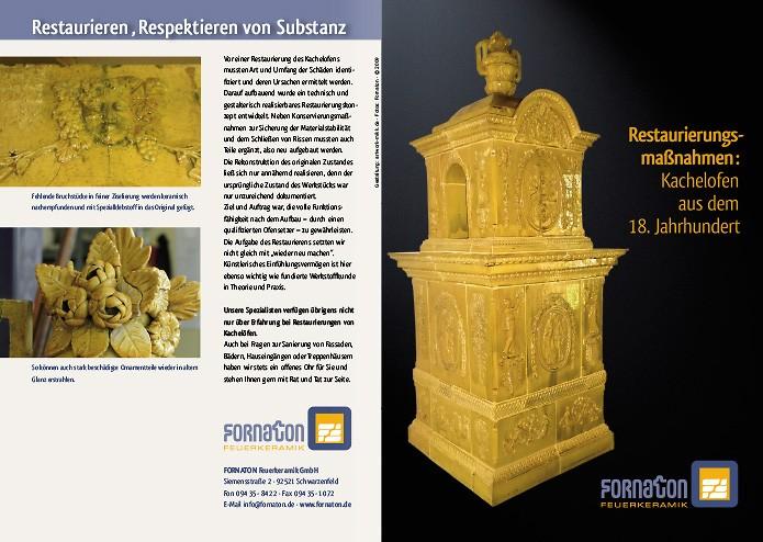 Fornaton Feuerkeramik GmbH · Folder · Restaurierung