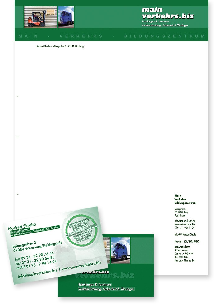 Mainverkehrs.biz · Briefbogen · Visitenkarte