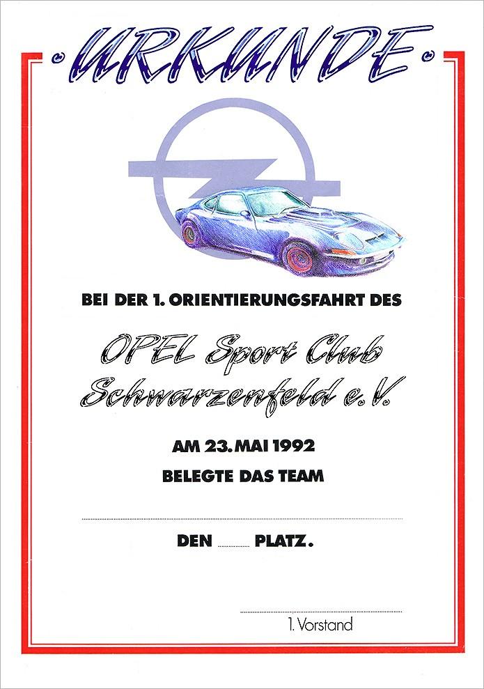 Opel Sportclub Schwarzenfeld · Urkunde