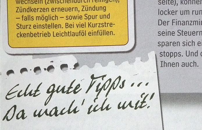 Werners Pen im Auto-Straßenverkehr-Magazin Sauber Fahren