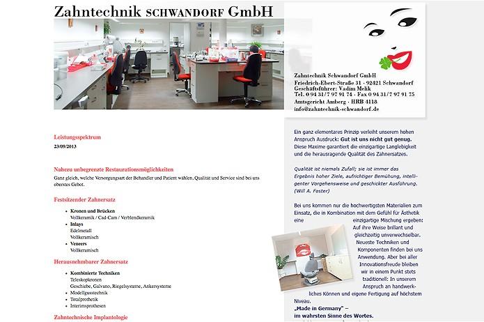 Zahntechnik Schwandorf GmbH · Homepage