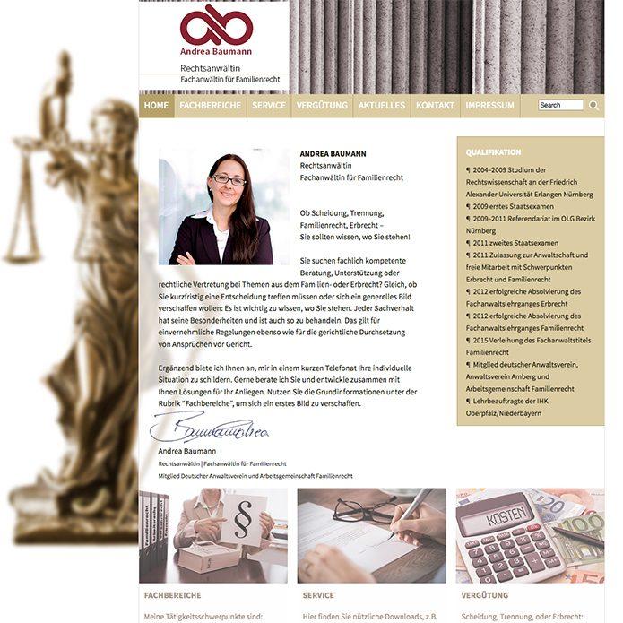 Homepage Rechtsanwältin Andrea Baumann